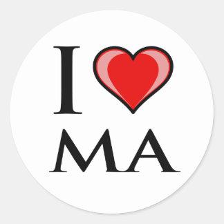 I Love MA - Massachusetts Round Sticker