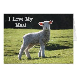 I Love Maa - Cute Baby Lamb Greeting Card