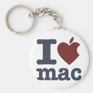 I Love Mac Basic Round Button Key Ring