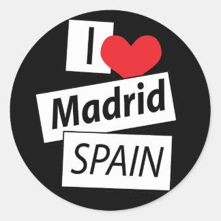 I Love Madrid Spain Classic Round Sticker