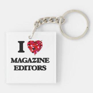 I love Magazine Editors Double-Sided Square Acrylic Key Ring