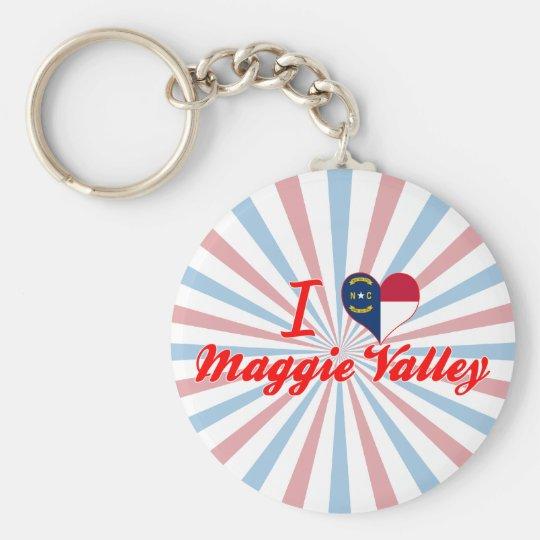 I Love Maggie Valley, North Carolina Basic Round Button Key Ring