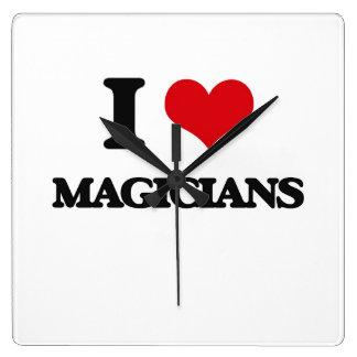 I Love Magicians Square Wall Clock