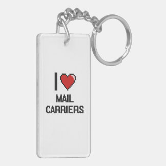 I love Mail Carriers Double-Sided Rectangular Acrylic Key Ring