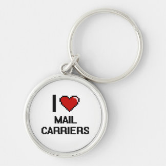 I love Mail Carriers Silver-Colored Round Key Ring