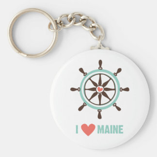 I Love Maine Ship Wheel Keychains