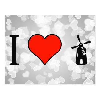 I Love Make My Own Windmill Postcard