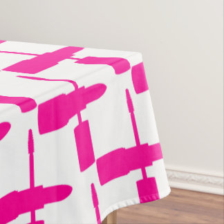 I Love Makeup Lipstick Mascara Cosmetics Hot Pink Tablecloth