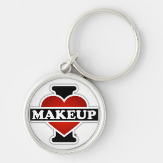 I Love Makeup Silver-Colored Round Key Ring