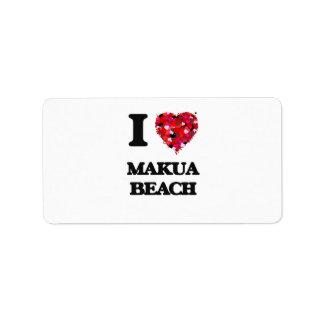 I love Makua Beach Hawaii Address Label