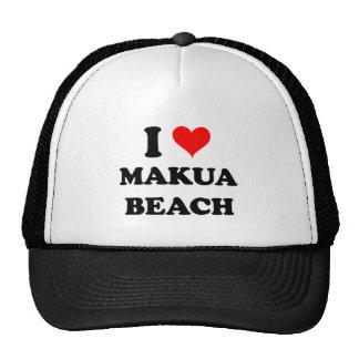 I Love Makua Beach Hawaii Mesh Hat