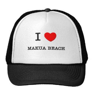 I Love Makua Beach Hawaii Trucker Hats