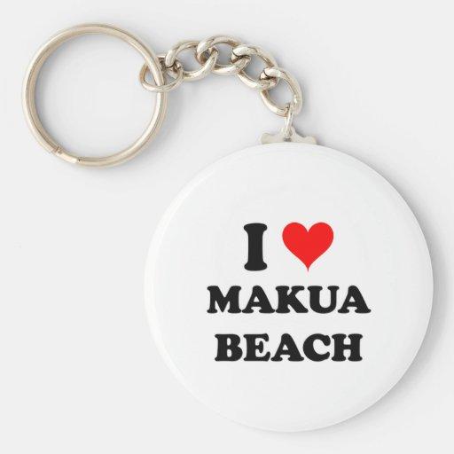 I Love Makua Beach Hawaii Key Chain