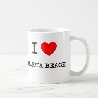 I Love Makua Beach Hawaii Coffee Mugs