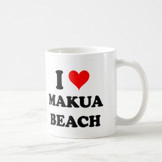 I Love Makua Beach Hawaii Basic White Mug