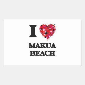 I love Makua Beach Hawaii Rectangular Sticker