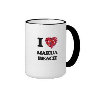 I love Makua Beach Hawaii Ringer Mug
