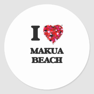 I love Makua Beach Hawaii Round Sticker