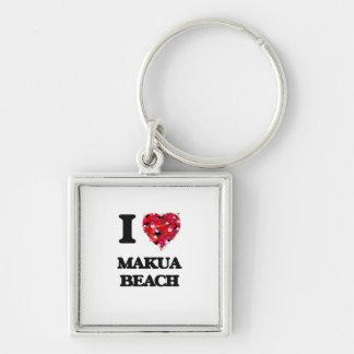 I love Makua Beach Hawaii Silver-Colored Square Key Ring