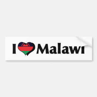 I Love Malawi Flag Bumper Sticker