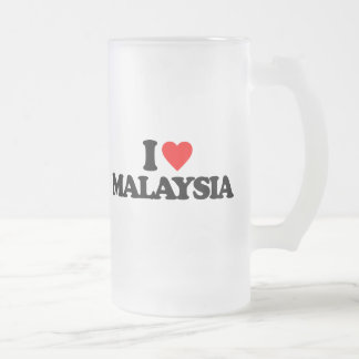 I LOVE MALAYSIA 16 OZ FROSTED GLASS BEER MUG