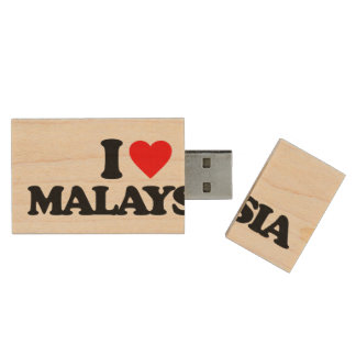 I LOVE MALAYSIA WOOD USB 2.0 FLASH DRIVE