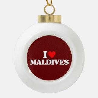 I LOVE MALDIVES CERAMIC BALL CHRISTMAS ORNAMENT