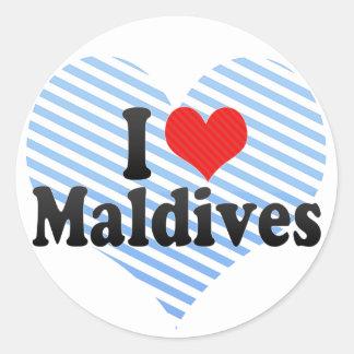 I Love Maldives Classic Round Sticker