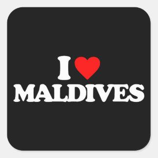 I LOVE MALDIVES SQUARE STICKER