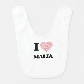 I love Malia (heart made from words) design Bib