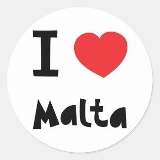 I love malta classic round sticker