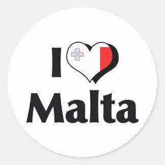 I Love Malta Flag Round Sticker
