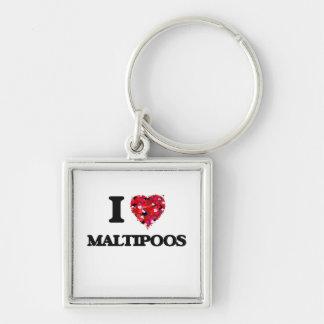 I love Maltipoos Silver-Colored Square Key Ring