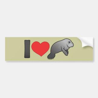 I Love Manatees Bumper Sticker
