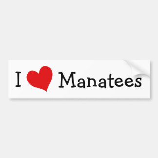 I Love Manatees Bumper Sticker