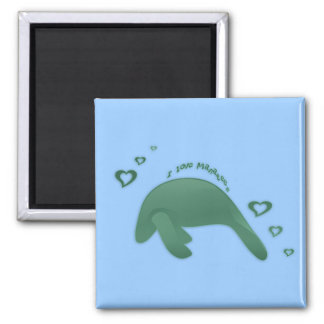 I Love Manatees Green Square Magnet