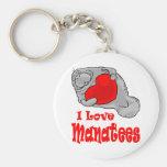 I Love Manatees Keychain