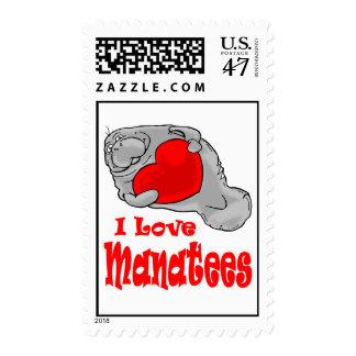 I Love Manatees Postage Stamp