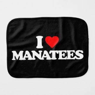I LOVE MANATEES BABY BURP CLOTHS