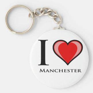 I Love Manchester Basic Round Button Key Ring
