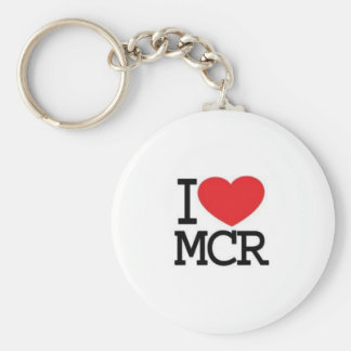 I LOVE MANCHESTER BASIC ROUND BUTTON KEY RING