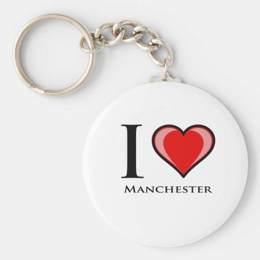 I Love Manchester Keychains