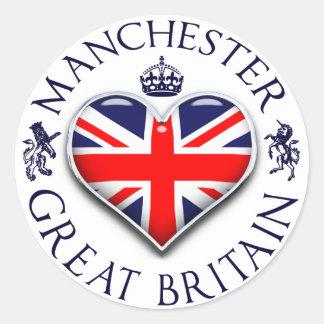I Love Manchester Round Sticker
