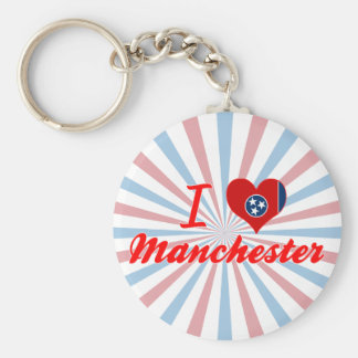 I Love Manchester, Tennessee Basic Round Button Key Ring