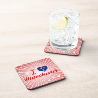 I Love Manchester, Wisconsin Drink Coasters