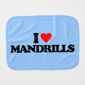 I LOVE MANDRILLS BABY BURP CLOTHS
