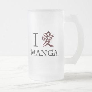 I Love Manga Frosted Glass Beer Mug