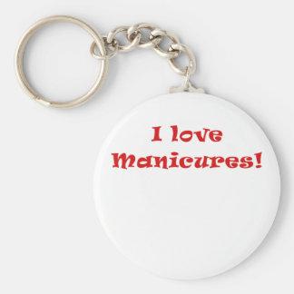 I Love Manicures Basic Round Button Key Ring
