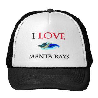 I Love Manta Rays Hats