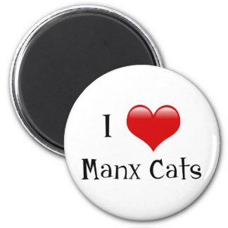 I Love Manx Cats 6 Cm Round Magnet